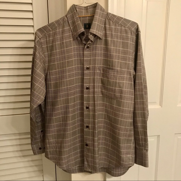 ROBERT TALBOTT Brown Plaid Dress Shirt Medium